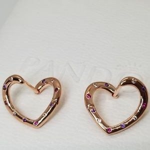 Pandora Bright Heart Hoop Earrings Rose Collection